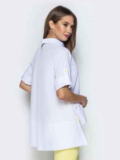 """Белая рубашка с рукавом-реглан и нашивкой """"лимон"""" 22194, фото 2"""