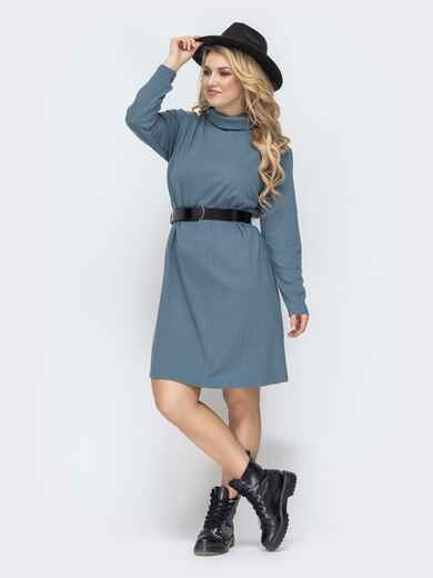 Голубое платье-трапеция большого размера 45117, фото 1