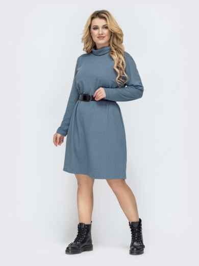 Голубое платье-трапеция большого размера 45117, фото 2