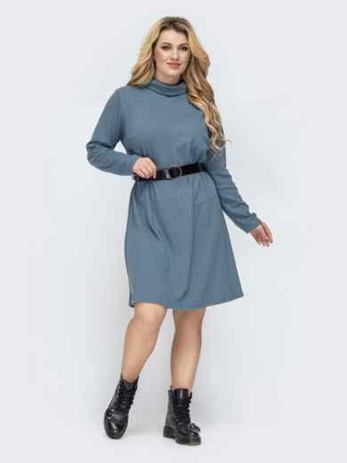 Голубое платье-трапеция большого размера 45117, фото 3