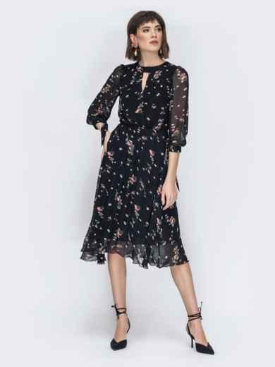 """Шифоновое платье-миди чёрного цвета с вырезом """"капля"""" 45071, фото 2"""