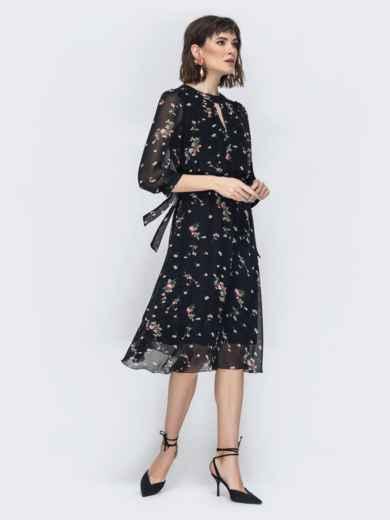 """Шифоновое платье-миди чёрного цвета с вырезом """"капля"""" 45071, фото 3"""