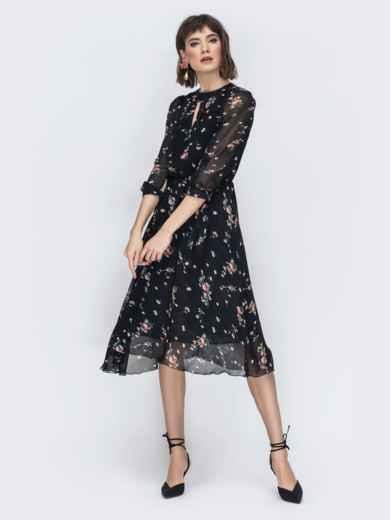 """Шифоновое платье-миди чёрного цвета с вырезом """"капля"""" 45071, фото 4"""