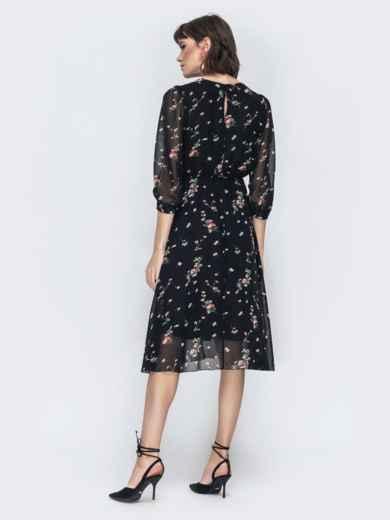 """Шифоновое платье-миди чёрного цвета с вырезом """"капля"""" 45071, фото 5"""