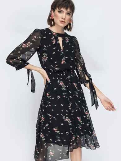 """Шифоновое платье-миди чёрного цвета с вырезом """"капля"""" 45071, фото 6"""