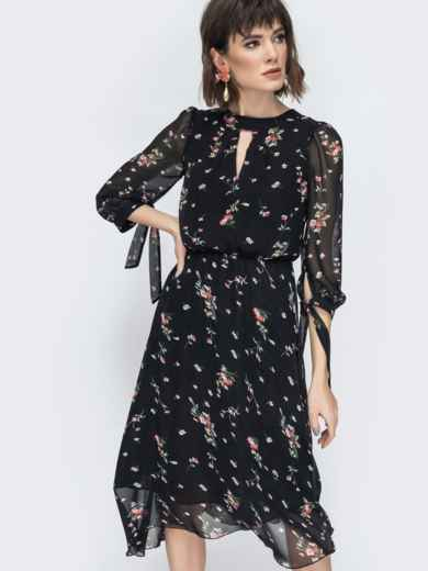 """Шифоновое платье-миди чёрного цвета с вырезом """"капля"""" 45071, фото 7"""