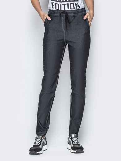 Лёгкие джинсы чёрного цвета на резинке по талии 21053, фото 1