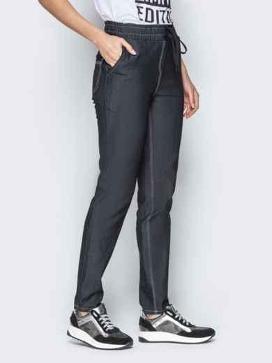 Лёгкие джинсы чёрного цвета на резинке по талии 21053, фото 2
