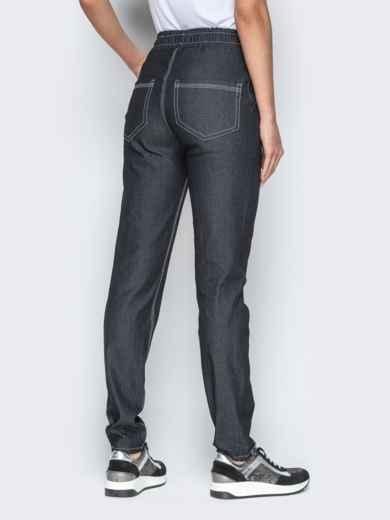 Лёгкие джинсы чёрного цвета на резинке по талии 21053, фото 3