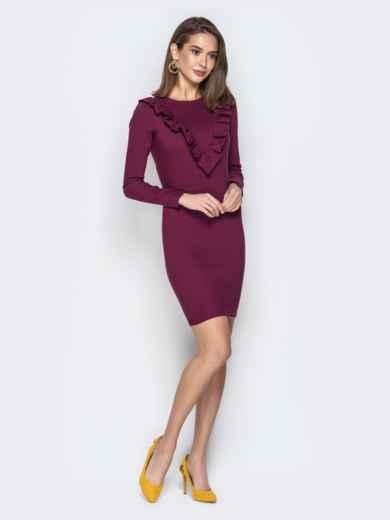 Обтягивающее платье с оборками на полочке марсала 21353, фото 2