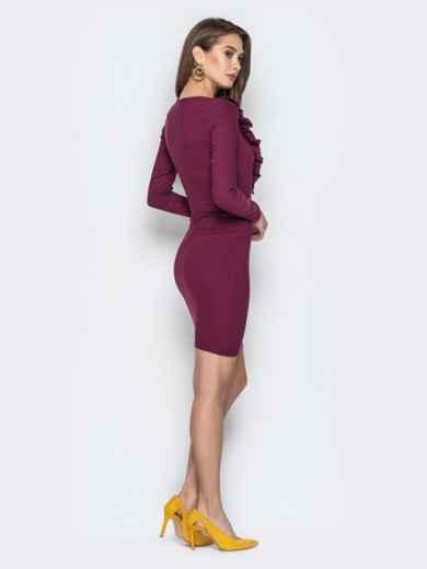 Обтягивающее платье с оборками на полочке марсала 21353, фото 3