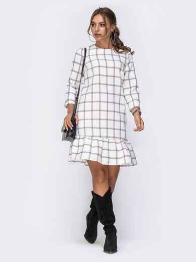 Платье с оборкой по низу и рукавами 3/4 белое 42163, фото 1