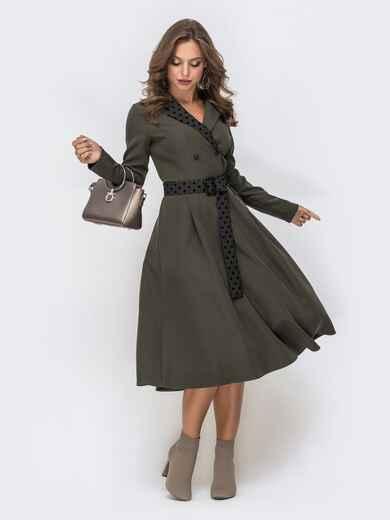 Платье с расклешенной юбкой и вставками в горох хаки 41382, фото 1