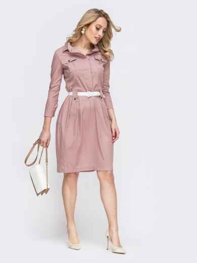 Розовое платье со шлевками 45787, фото 2
