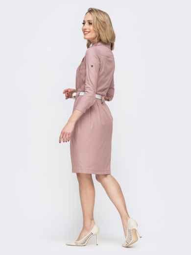 Розовое платье со шлевками 45787, фото 3