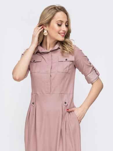 Розовое платье со шлевками 45787, фото 4