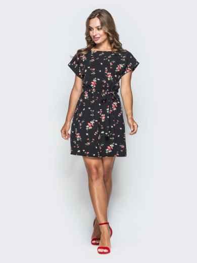 Платье из софта черного цвета с цветочным принтом 38384, фото 1