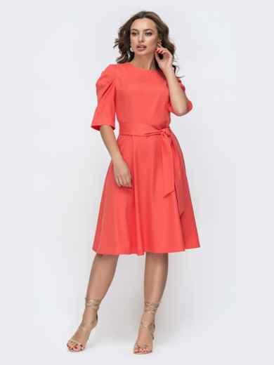Расклешенное платье с буфами на рукавах коралловое 46800, фото 2