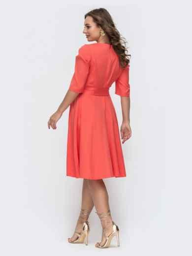 Расклешенное платье с буфами на рукавах коралловое 46800, фото 3