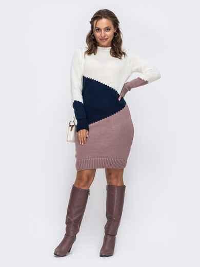 Вязаное платье с резинкой по низу розовое 50188, фото 1