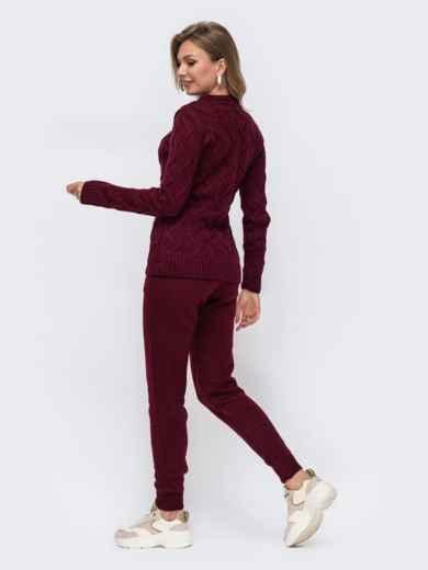 Вязаный комплект из свитера и брюк бордовый 50185, фото 2