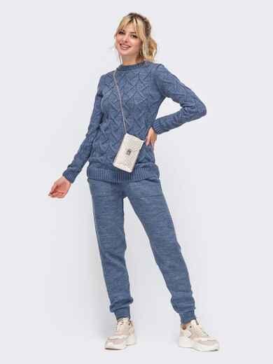 Вязаный комплект из свитера и брюк синий 50186, фото 1