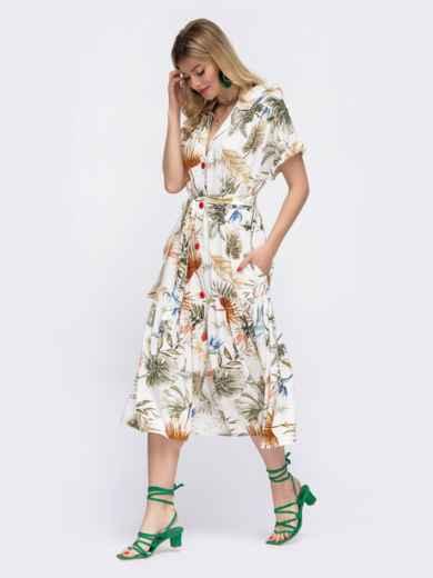 Белое платье в цветочный принт свободного кроя  48047, фото 2