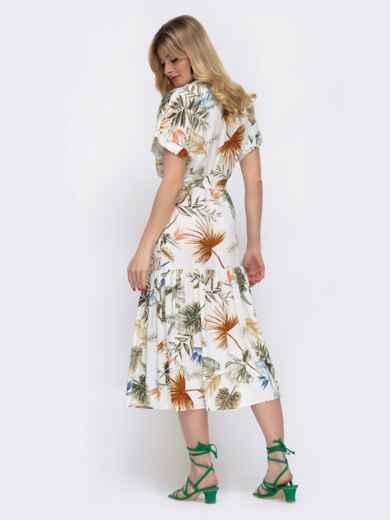 Белое платье в цветочный принт свободного кроя  48047, фото 3