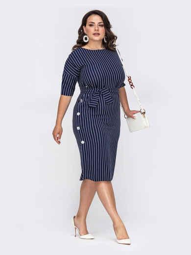 Приталенное платье батал тёмно-синего цвета в полоску 50884, фото 1