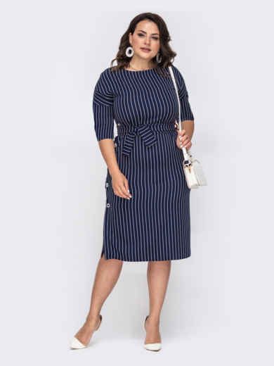 Приталенное платье батал тёмно-синего цвета в полоску 50884, фото 2