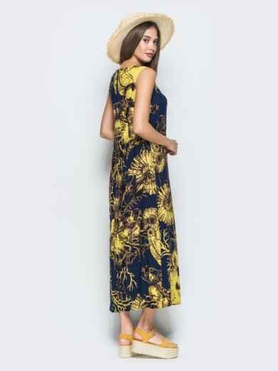 Приталенное платье-макси с принтом тёмно-синее 38541, фото 2