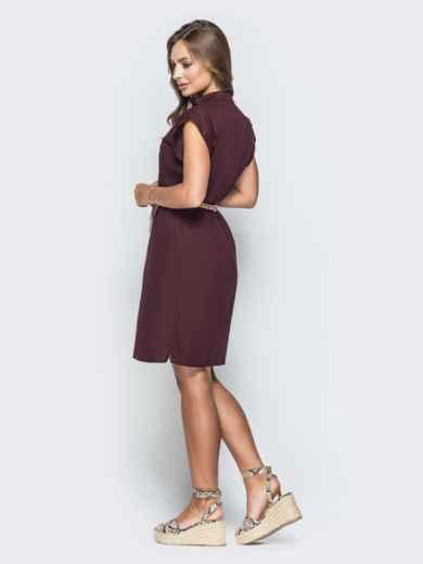 Бордовое платье с V-вырезом и накладным карманом 38882, фото 2