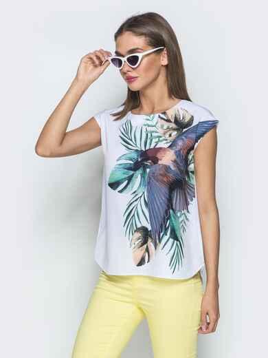 Принтованная блузка без рукавов белая 39521, фото 1