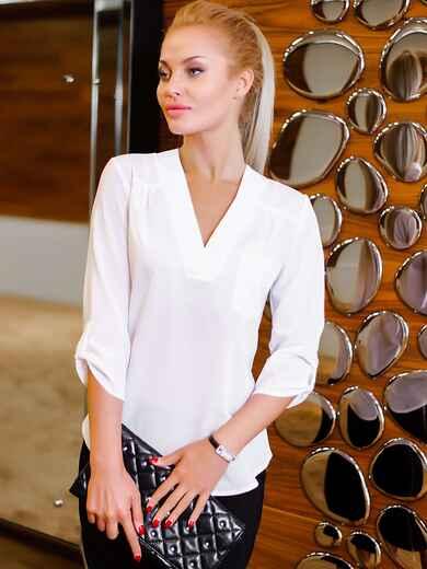 Блузка со шлёвками на рукавах 3/4 10230, фото 1
