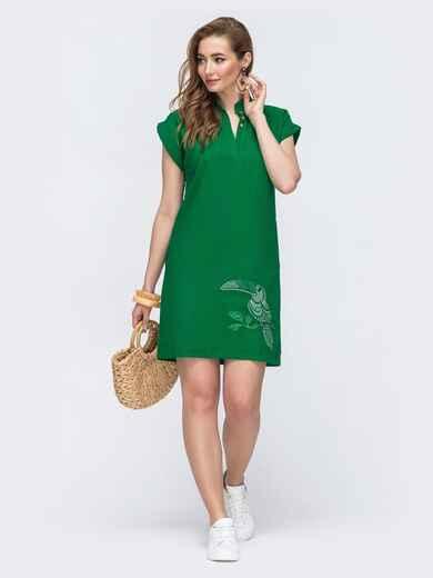Льняное платье зеленого цвета с вышивкой - 48159, фото 1 – интернет-магазин Dressa