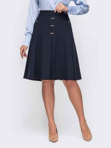 Темно-синяя юбка-трапеция большого размера 50809, фото 1
