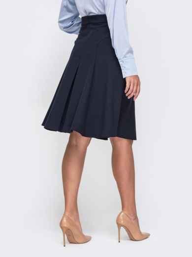 Темно-синяя юбка-трапеция большого размера 50809, фото 2