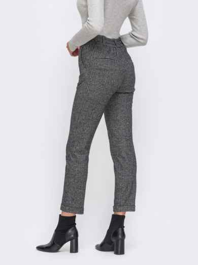 Укороченные брюки с подворотами и стандартной посадкой серые 50568, фото 2