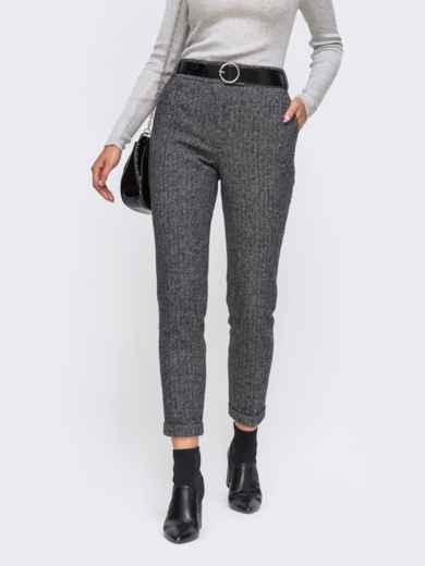 Укороченные брюки с подворотами и стандартной посадкой серые 50568, фото 3