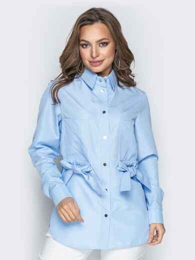 Голубая рубашка в клетку с бантами на карманах 20756, фото 1