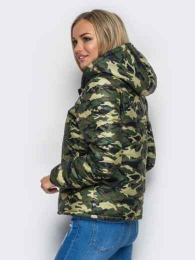 Камуфляжная куртка с капюшоном и манжетами на резинке 12958, фото 3