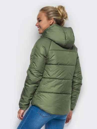 Куртка с капюшоном и накладными карманами зелёная 12961, фото 2