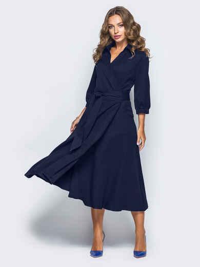 Платье-халат синего цвета с отложным воротником - 16476, фото 1 – интернет-магазин Dressa