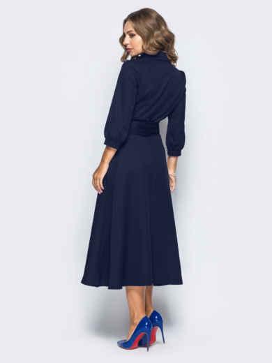 Платье-халат синего цвета с отложным воротником 16476, фото 3