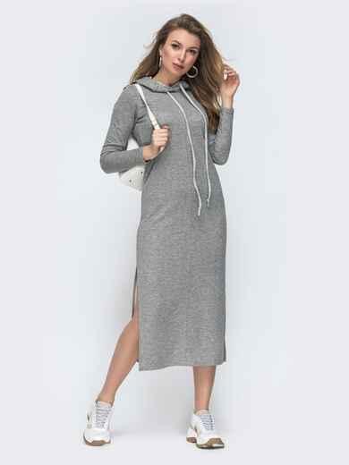 Серое платье прямого кроя с капюшоном 45531, фото 1