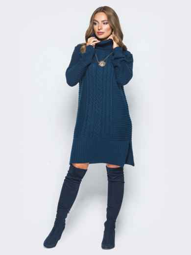Тёмно-синее вязаное платье с высоким воротником 15921, фото 1