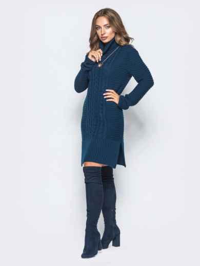 Тёмно-синее вязаное платье с высоким воротником 15921, фото 2