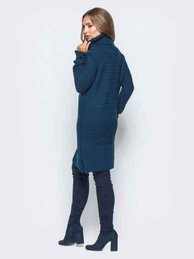 Тёмно-синее вязаное платье с высоким воротником 15921, фото 3