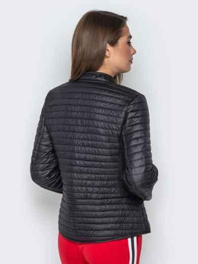 Чёрная куртка с велюровыми вставками и карманами 20303, фото 2
