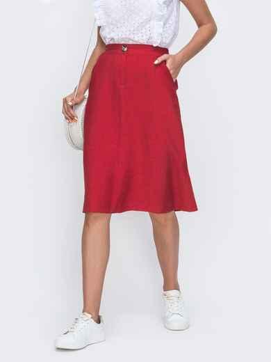 Красная юбка-трапеция на молнии 49365, фото 1